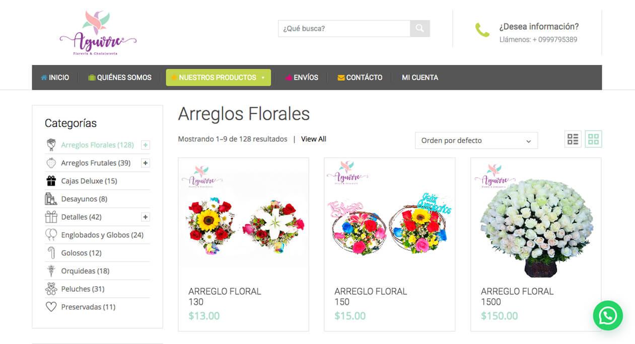 El comercio electrónico que usa Florería Aguirre